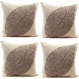 Rustic Farmhouse Leaves Decor Cotton Linen Throw Pillow Cases