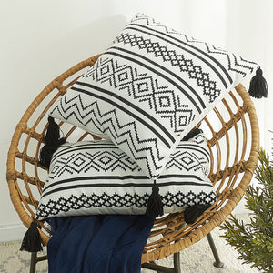Nodic Morroco Cushion Cover Geometric Black White Pillow Cover with Tassel for Sofa Living Room Decor