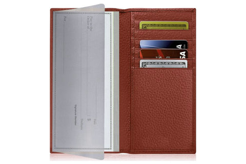 brown leather checkbook wallet for men