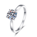 Classic Four Prong 10K White Gold Moissanite Ring