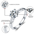 White Gold Moissanite Fashion Six Prong Ring