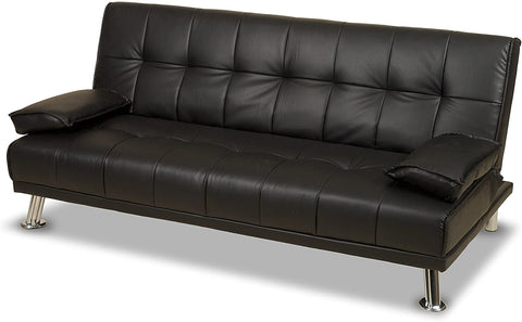 Humza Amani Venice Sofa Bed in Faux Leather Sofa Bed (BLACK)