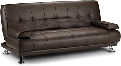 D & G VENICE CLICK CLACK FAUX SOFA LEATHER BED - BLACK, BROWN AND GREY (Brown)