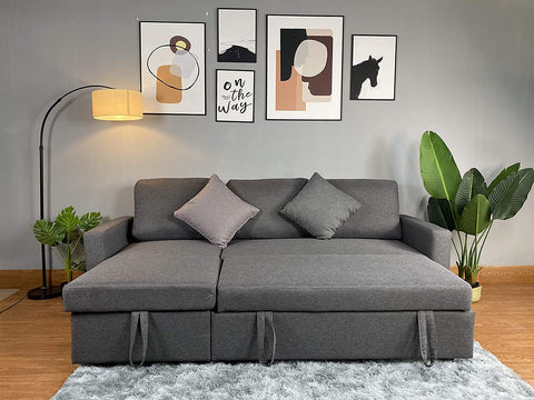 Reegan L Shaped Corner Sofa Bed in Grey, with Hidden Storage and Reversible Chaise. Matching Recliner Chair Also Available. (Sofa)
