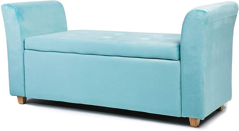 Emma Velvet Ottoman Padded Storage Bench (Blue)