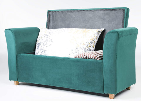 Emma Velvet Ottoman Padded Storage Bench (Emerald)