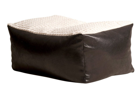 Lounger Seating Stool Bean Bag - Corded Fabric with Faux Leather Base