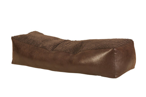 Bench Bean Bag Chair - Corded Fabric Seating with Faux Leather Base