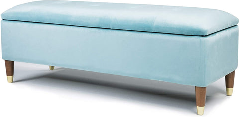 Gigi Velvet Ottoman Large Storage Bench (Blue)