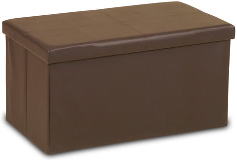 Humza Amani Ottoman Folding Storage Box (Toy/Clothes/Storage Box) in Faux Leather Finish (Large 2 Seater 76x38x38cm, BROWN)