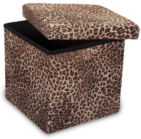 Humza Amani Ottoman Folding Storage Boxes Stool Leopard Print Finish - Small