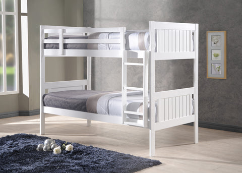 Humza Amani Glory New Milan White 3FT Single Wooden Bunk Bed (Bunk Bed Only)