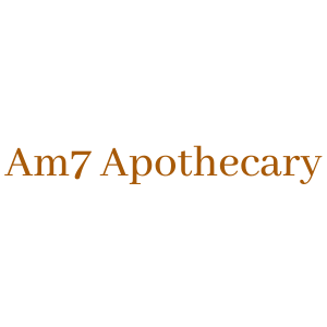 Am7 Apothecary, company name, written in Abhaya Libre Regular font family and gold tone.
