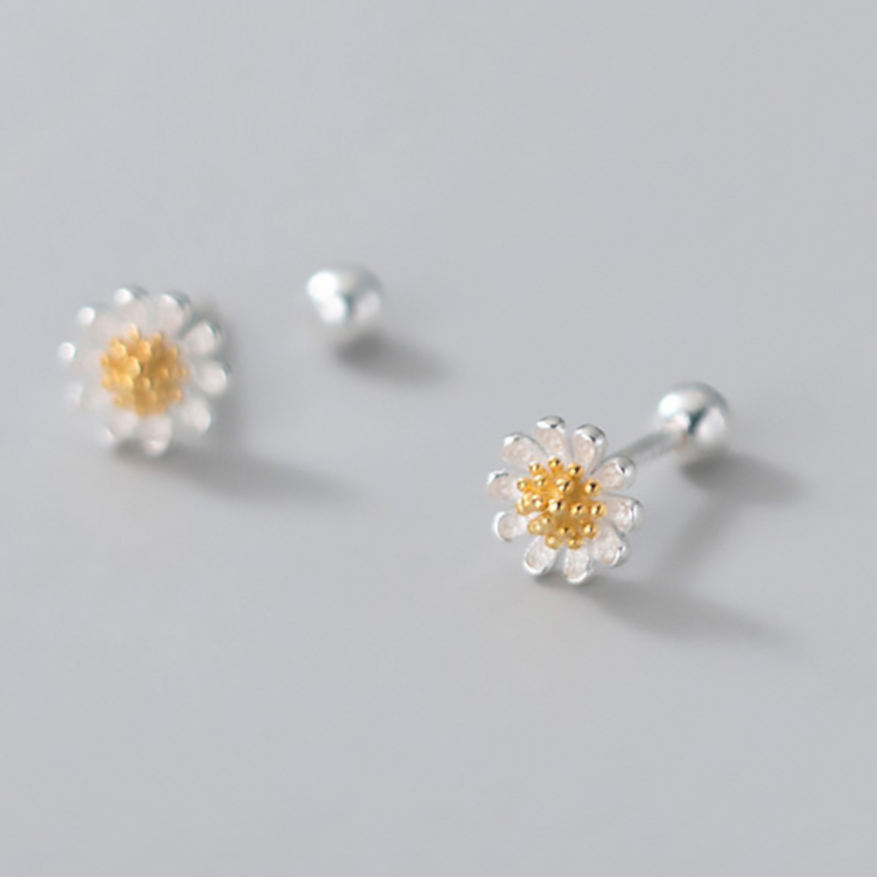 Tiny Sweet Flower Screw Sterling Silver Back Earrings