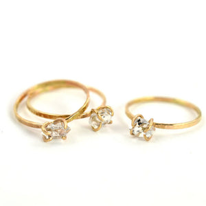 Aquarian Thoughts Herkimer Diamond Solitaire Stacking Ring - RedRubyRougeBoutique