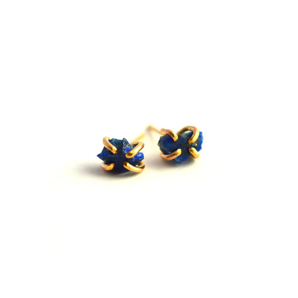 Aquarian Thoughts Blue Lapis Stud Earrings - RedRubyRougeBoutique