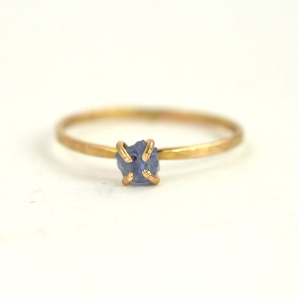 Aquarian Thoughts Raw Sapphire Solitaire Stacking Ring - RedRubyRougeBoutique