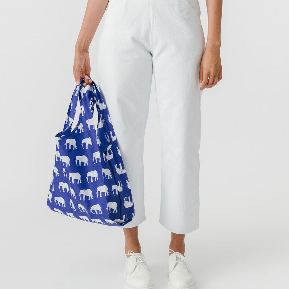 Baggu Classic Shopper Tote in Elephant Blue - RedRubyRougeBoutique