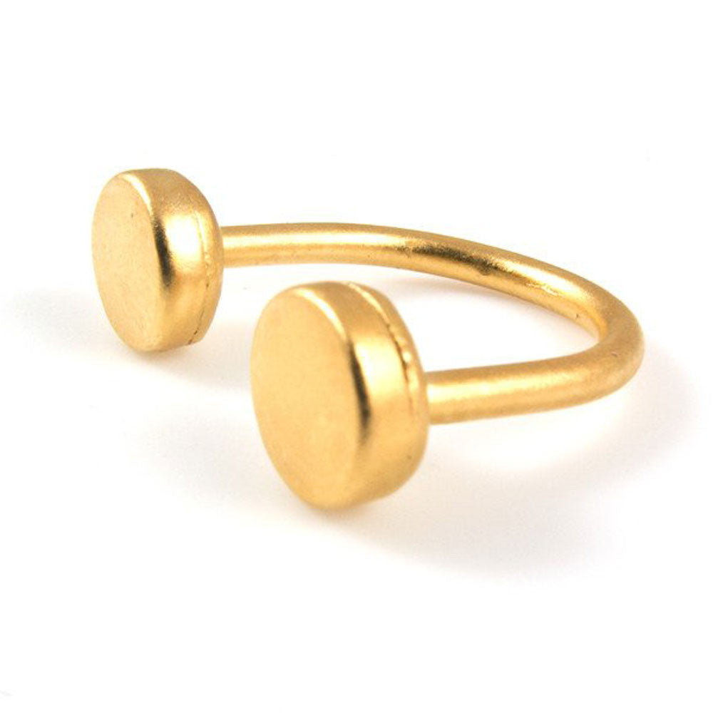 Baleen Double Disc Gold Plated Ring - RedRubyRougeBoutique