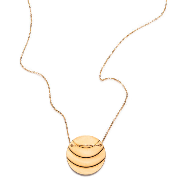 By Boe Gold Ridged Circle Necklace - RedRubyRougeBoutique