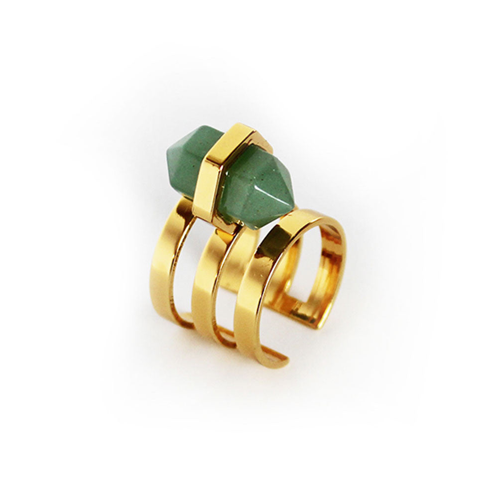 Elizabeth Stone Boheme Deco Cuff Ring in Aventurine - RedRubyRougeBoutique