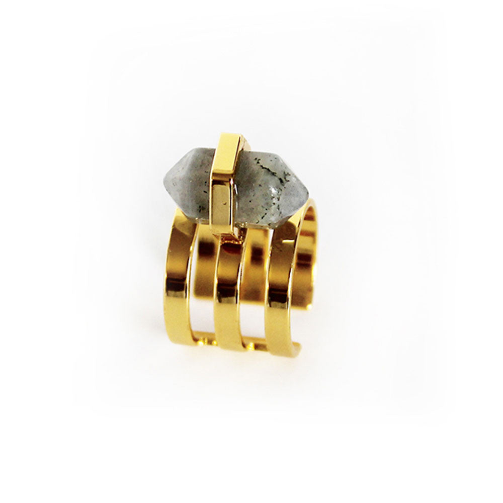Elizabeth Stone Boheme Deco Cuff Ring in Laboradite - RedRubyRougeBoutique