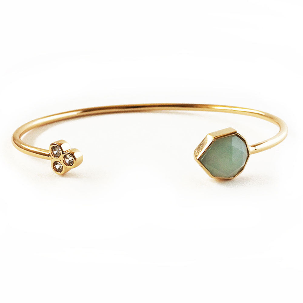 Elizabeth Stone Orion Amazonite Gemstone Cuff - RedRubyRougeBoutique
