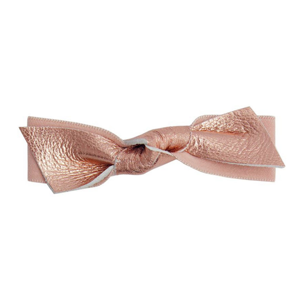 Emi Jay Rose Gold Leather Hair Bow - RedRubyRougeBoutique