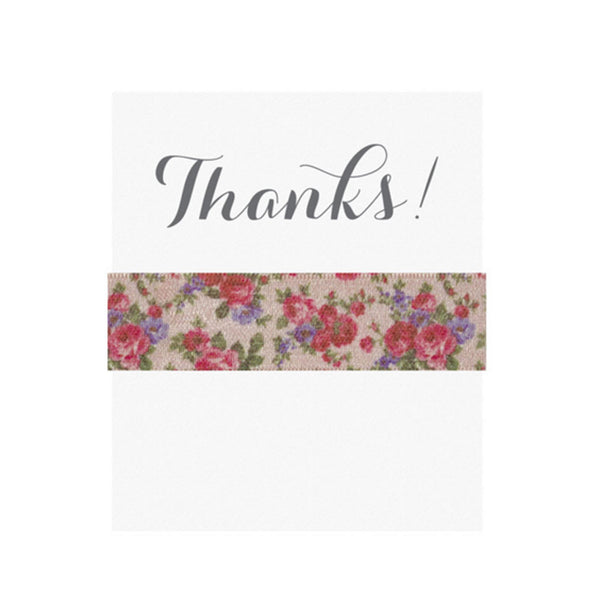 Emi Jay 'Thanks' Card with Peony Hair Tie - RedRubyRougeBoutique