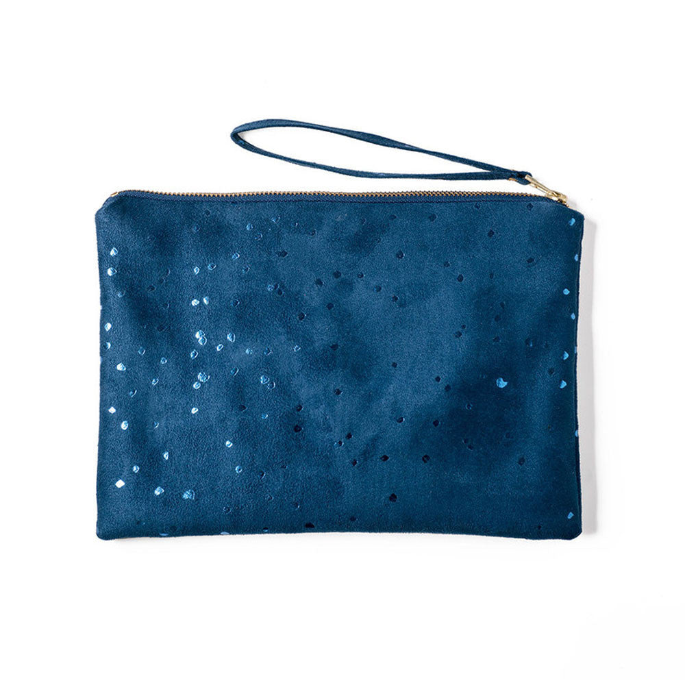 Lee Coren Flat Clutch in Confetti Blue - RedRubyRougeBoutique