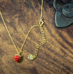 Strawberry Solid Sterling Silver with Gold Detail Necklace