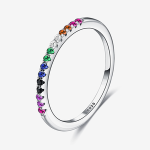 Rainbow Dainty Sterling Silver Ring