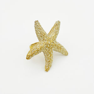 Mr. Kate Starfish Ring Cast in high quality brass with 18k yellow gold finish - RedRubyRougeBoutique
