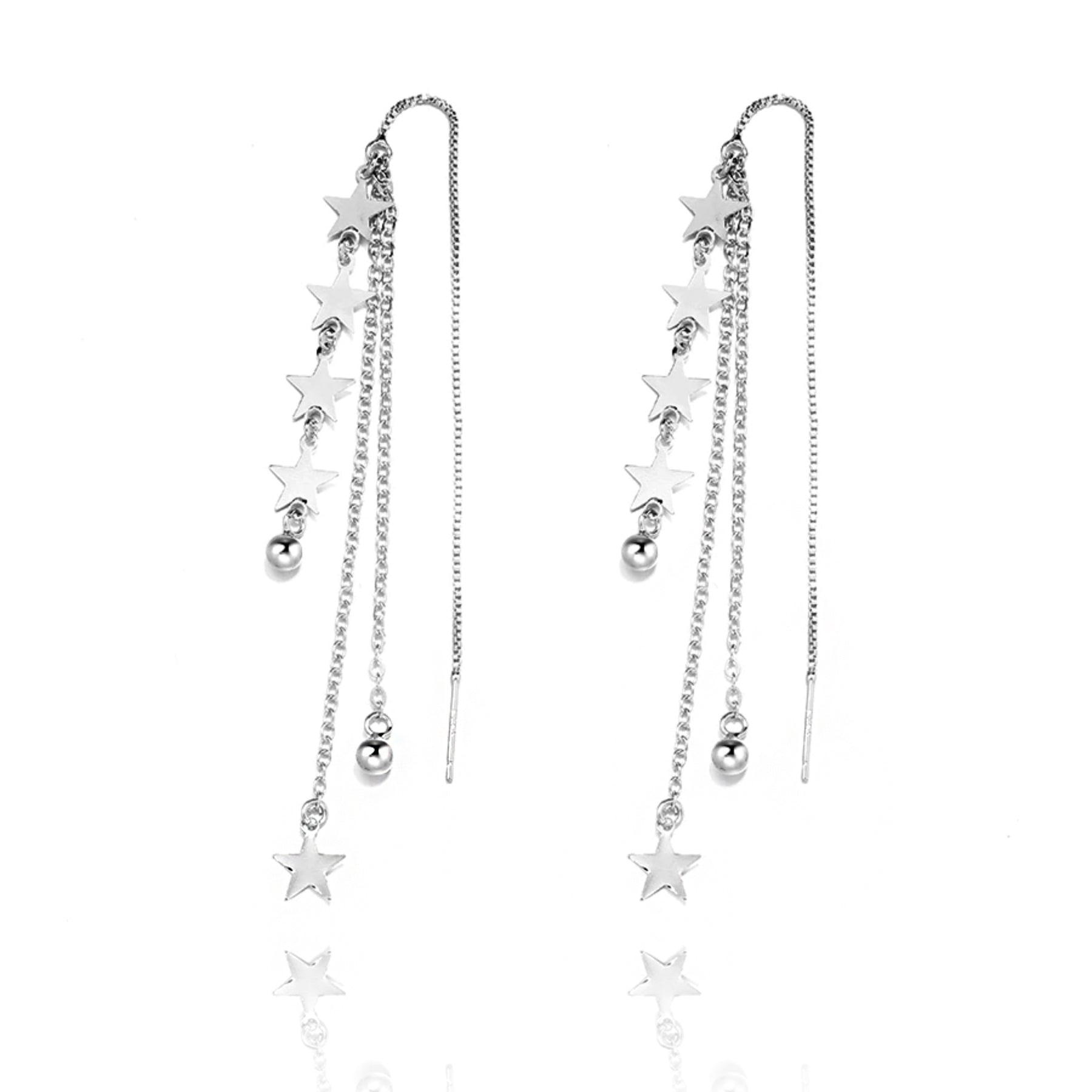 Shooting Stars Sterling Silver Long Earrings