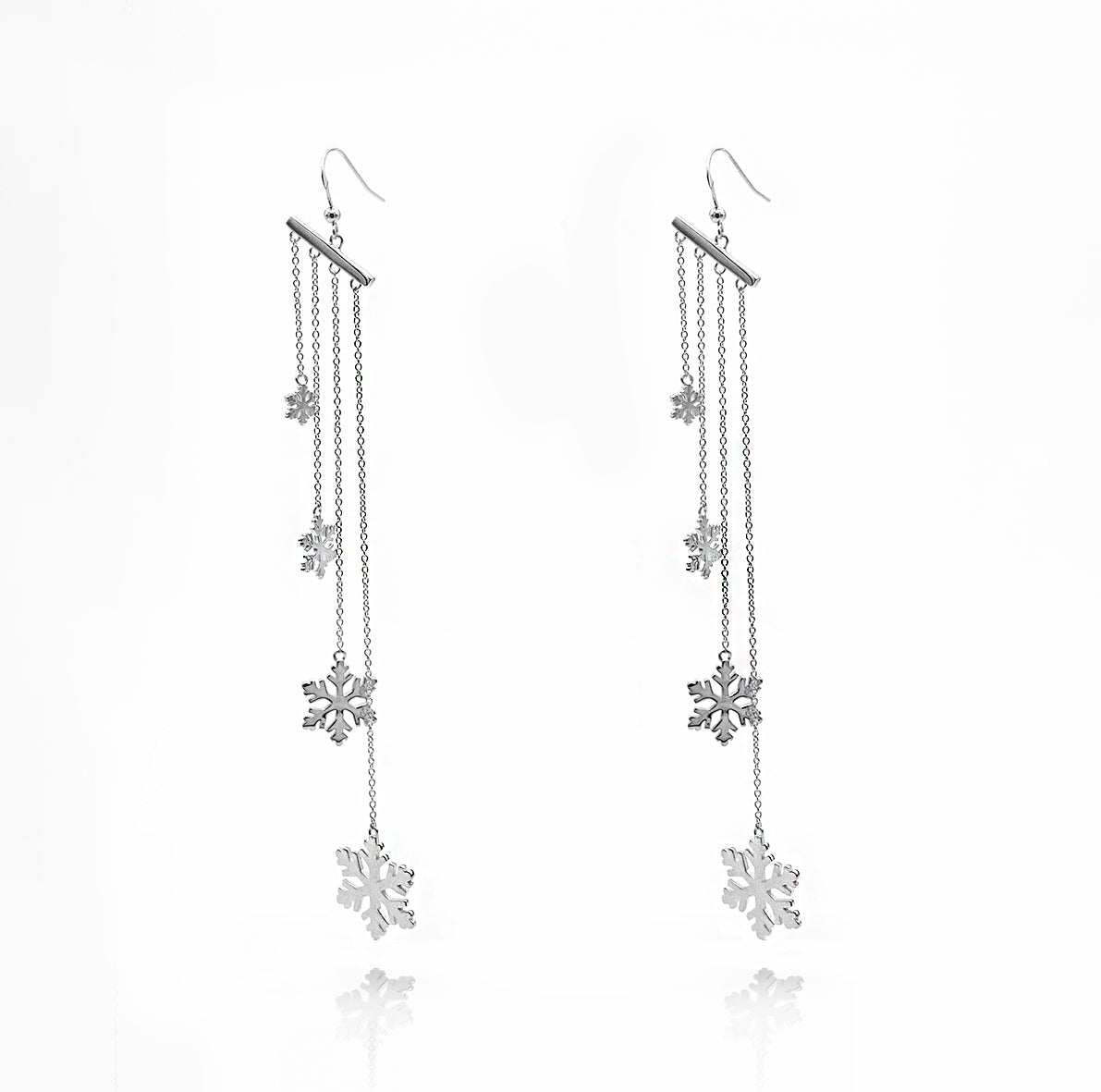 Solid Sterling Silver Earrings Christmas Snowflake with option of Gold plated
