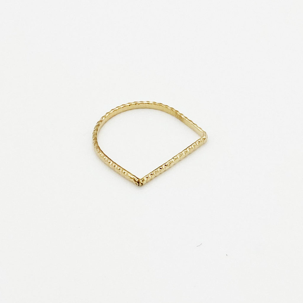 Straight Scalloped Gold Band Ring Designed By Boe - RedRubyRougeBoutique
