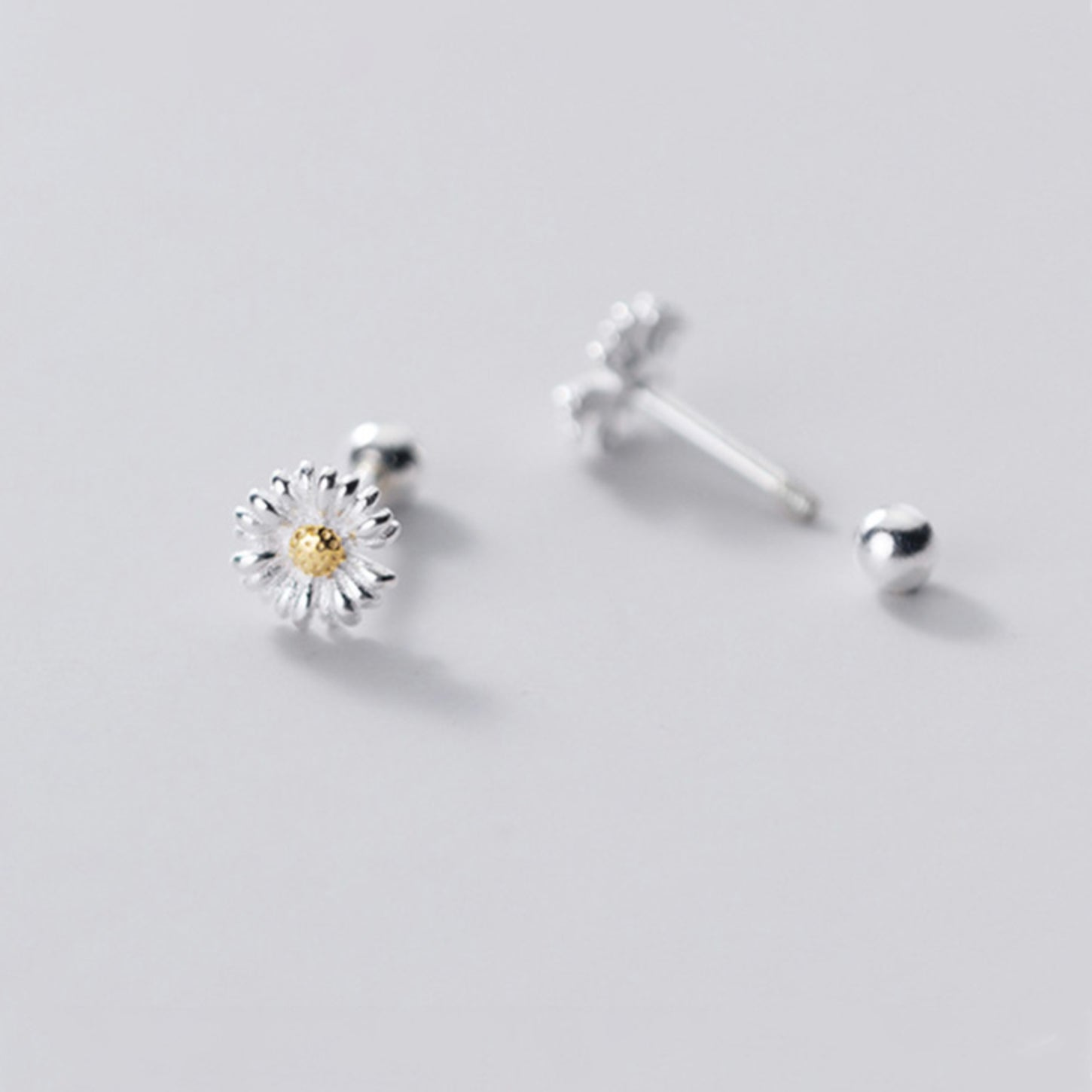 Tiny Daisy Flower Screw Sterling Silver Back Earrings