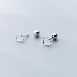 Tiny Heart Outline  Screw Back Sterling Silver Earrings