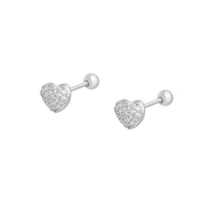 Tiny Heart Screw Back Sterling Silver Earrings