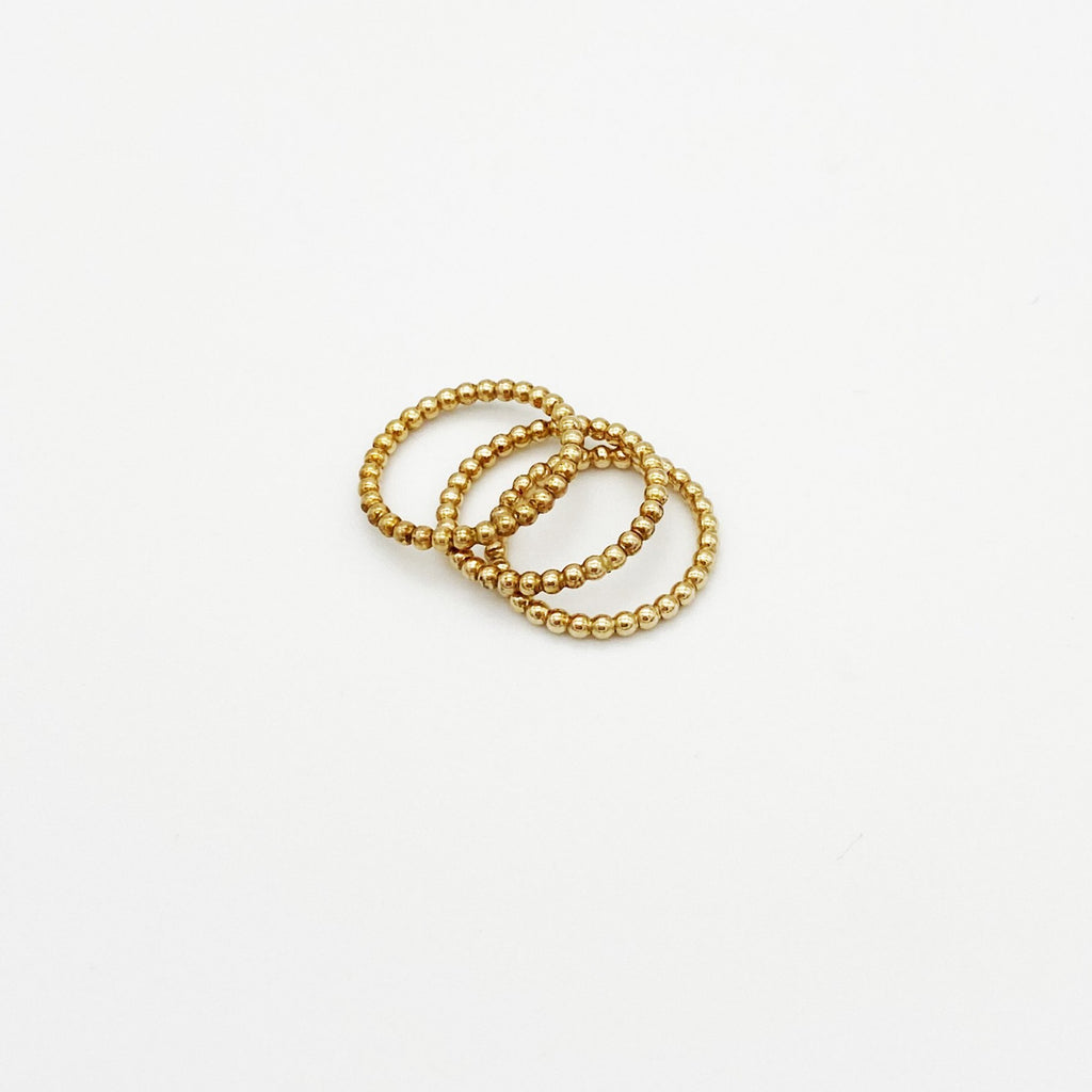 Set of 3 - 14K Gold Beaded Stacking Rings - RedRubyRougeBoutique