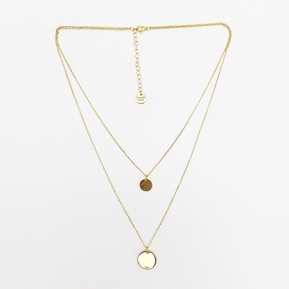 Gold Plated Solid Sterling Silver Layered Disc Necklace