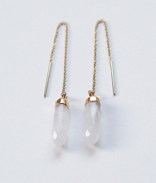 Friedasophie Moonstone Point Gold Earrings - RedRubyRougeBoutique