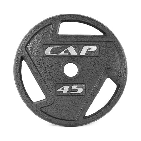 CAP Barbell Black Olympic Grip Plate, Single, 45 lb