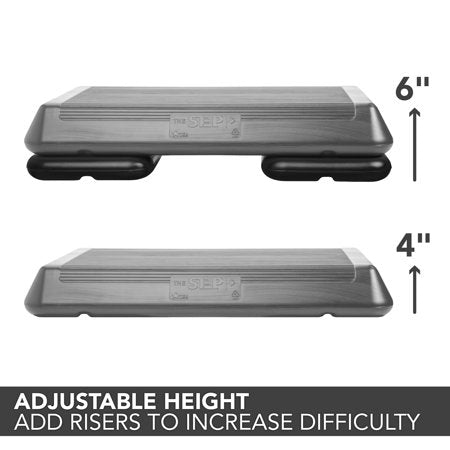 The Step Original Circuit Size Aerobic Stepper Platform with Grey Nonslip Platform and Two Original Black Risers