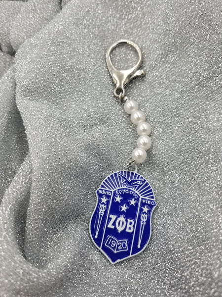Royal Shield with 5 pearls keychain / purse charm