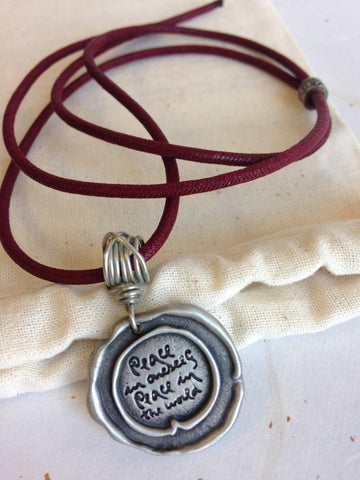 Pewter Seal Thich Nhat Hanh Quote Necklaces with Plum Cord