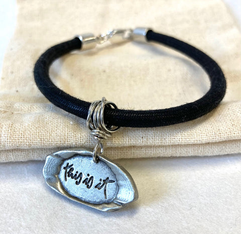 Pewter Seal Thich Nhat Hanh Quote Bracelets with Black Rope