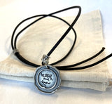 Pewter Seal Thich Nhat Hanh Quote Necklaces with Black Cord