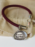 Pewter Seal Thich Nhat Hanh Quote Bracelets with Plum Rope