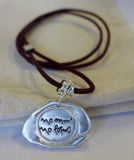 Silver Seal Thich Nhat Hanh Quote Necklaces on Plum Cord